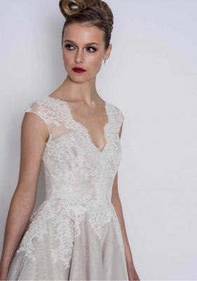 Simple wedding dresses A line | Short wedding dresses with lace_3