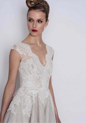 Schlichte Brautkleider A Linie | Kurze Hochzeitskleider mit Spitze_3