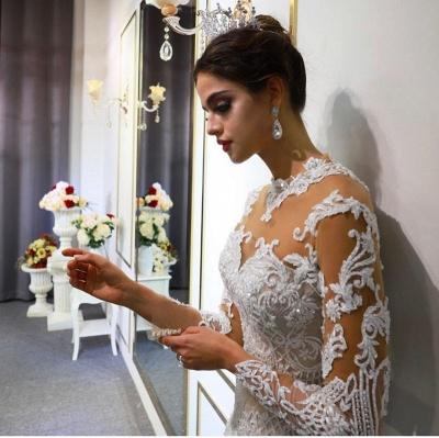 Luxus Hochzeitskleid A linie | Brautkleider Spitzeärmel Günstig_5