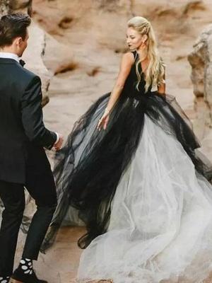 Brautkleid Schwarz | Prinzessin Hochzeitskleider mit Spitze_2