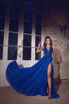Simple evening dresses long blue | Evening wear V neckline_1