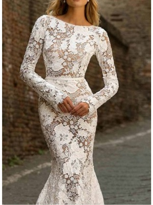 Designer wedding dress mermaid | Lace wedding dresses with sleeves_3