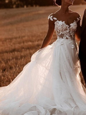 Designer wedding dresses with lace | Wedding dresses tulle cheap online_2