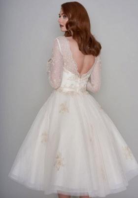 Wunderschöne Hochzeitskleider Kurz mit Ärmel | Spitze Brautkleider A Linie_7