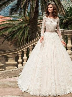 Designer Brautkleider A Linie | Hochzeitskleider Spitzeärmel_1