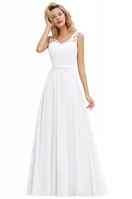 Schlichte Brautjungfernkleider Lang Chiffon | Rosa Kleid für Brautjungfern_1