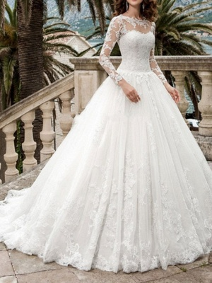 Beautiful wedding dresses A line | Wedding dresses with lace sleeves_1