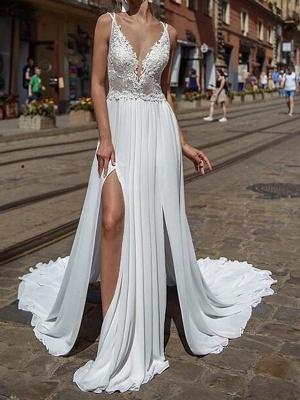 Sexy Brautkleider mit Spitze | Chiffon Sommer Kleider Hochzeitskleid_1