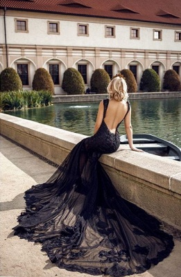Modern Evening Dresses Long Black | Evening fashion with lace_3