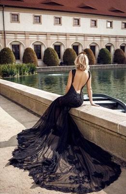 Modern Abendkleider Lang Schwarz | Abendmodne mit Spitze_3