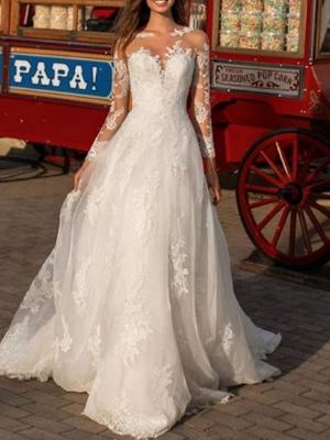 Elegant wedding dress A line | Lace wedding dresses with sleeves_1