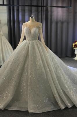 Extravagant wedding dresses princess   Wedding dresses glitter with sleeves_10