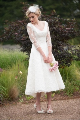 Chic Wedding Dresses Short With Sleeves | Wedding dresses lace A line_1