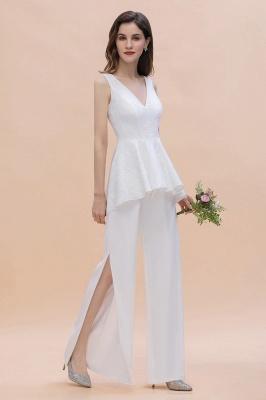 Weiße Brautjungfernkleider Lang Günstig Jumpsuit Chiffon Kleider_1
