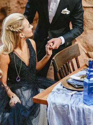 Brautkleid Schwarz | Prinzessin Hochzeitskleider mit Spitze_3