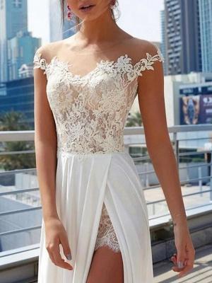 Designer Brautkleider Mit Spitze | Sommer Chiffon Hochzeitskleider Etuikleider_3