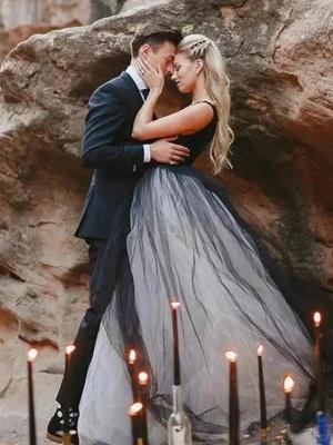 Brautkleid Schwarz | Prinzessin Hochzeitskleider mit Spitze_5