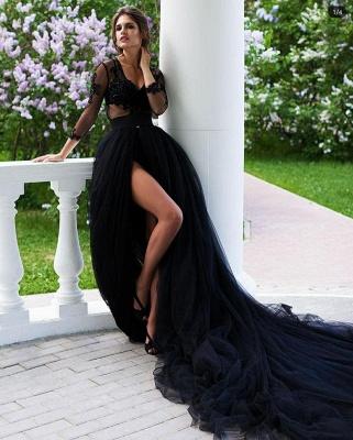 Schöne Abendkleider Lang Schwarz | Abendmoden mit Spitzeärmel_2