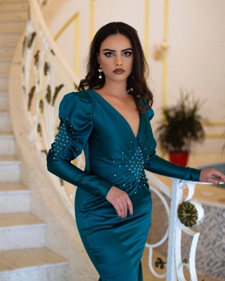 Green evening dresses with sleeves | Prom dresses long cheap_2