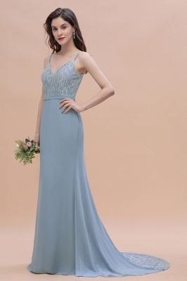 Steel Blue Brautjungfernkleider Lang Chiffon | Schlichtes Abendkleid_7