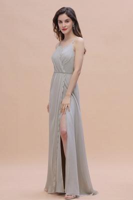 Siber Brautjungfernkleider Lang Chiffon | Schlichtes Abendkleid_7