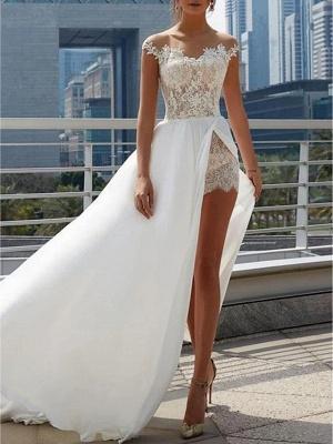 Designer Brautkleider Mit Spitze | Sommer Chiffon Hochzeitskleider Etuikleider_2