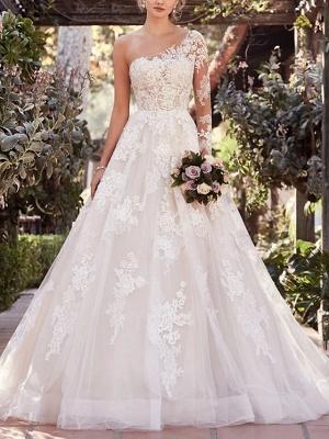 Schöne Brautkleider mit Ärmel | Spitze Hochzeitskleid A Linie_1
