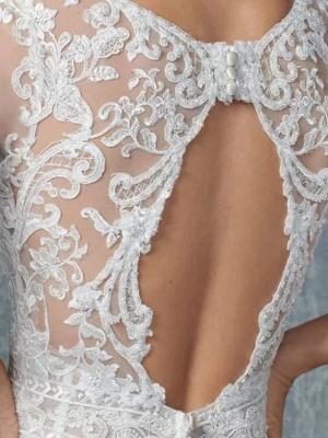Vintage Brautkleider A Linie | Hochzeitskleid Spitzelärmel_4