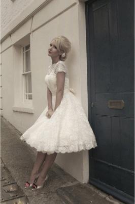 Beautiful wedding dresses A line | Lace wedding dresses short_3