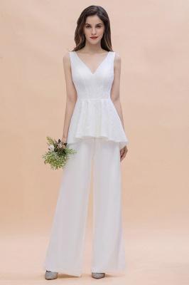 Weiße Brautjungfernkleider Lang Günstig Jumpsuit Chiffon Kleider_6
