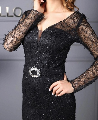 Evening dresses long black | Lace prom dresses with glitter_2