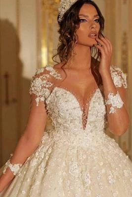 Luxus Hochzeitskleider mit Ärmel | Prinzessin Brautkleid Spitze