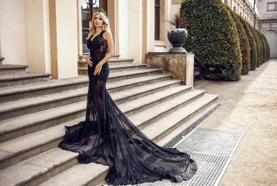 Modern Evening Dresses Long Black | Evening fashion with lace_2