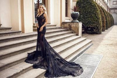 Modern Abendkleider Lang Schwarz | Abendmodne mit Spitze_2