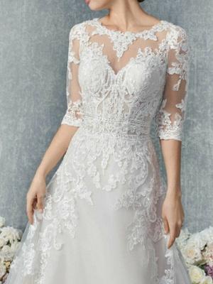 Vintage Brautkleider A Linie | Hochzeitskleid Spitzelärmel_2