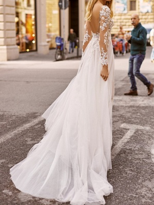 Vintage wedding dresses with sleeves | Sheath dresses lace wedding dress_2