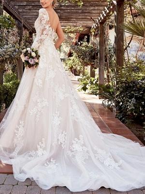 Schöne Brautkleider mit Ärmel | Spitze Hochzeitskleid A Linie_3