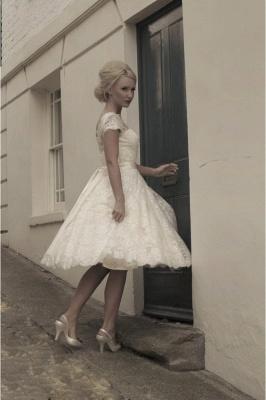 Beautiful wedding dresses A line | Lace wedding dresses short_4