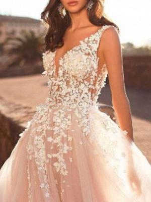 Designer Hochzeitskleider V Ausschnitt | Spitze Brautkleid A Linie_3