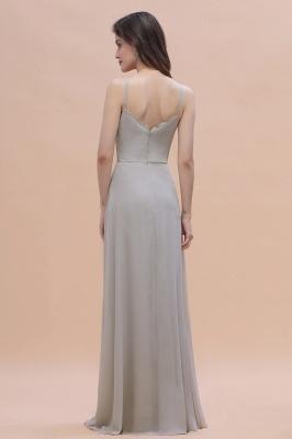 Siber Brautjungfernkleider Lang Chiffon | Schlichtes Abendkleid_3