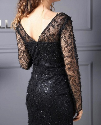 Evening dresses long black | Lace prom dresses with glitter_3