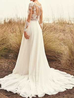 Summer wedding dresses chiffon | Lace wedding dresses with sleeves_2