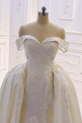 Schöne Hochzeitskleider A Linie Spitze | Brautkleider Cream_3