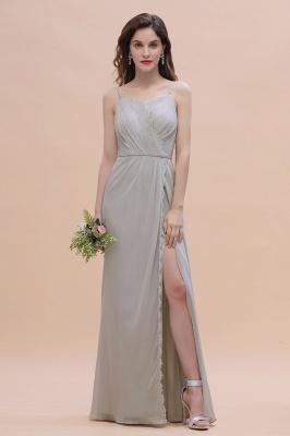 Siber Brautjungfernkleider Lang Chiffon | Schlichtes Abendkleid_5
