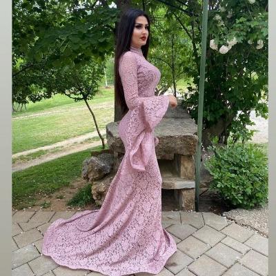 Abendkleider Lang Rosa | Spitze Abiballkleider mit Ärmel_3