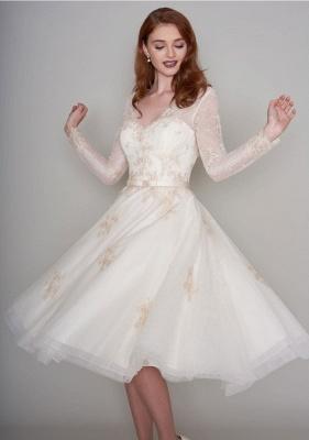 Wunderschöne Hochzeitskleider Kurz mit Ärmel | Spitze Brautkleider A Linie_4