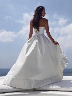 Elegante Brautkleider Kurz Vorn Lang Hinter   Hochzeitskleid Schlicht_2