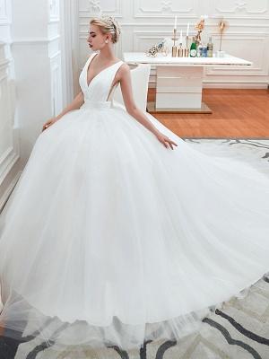 Schlichte Hochzeitskleid V Ausschnitt | Brautmoden A Linie_4