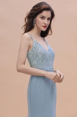 Steel Blue Brautjungfernkleider Lang Chiffon | Schlichtes Abendkleid_9