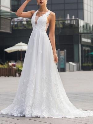 Brautkleider V Ausschnitt | Hochzeitskleid Mit Spitze A Linie_1
